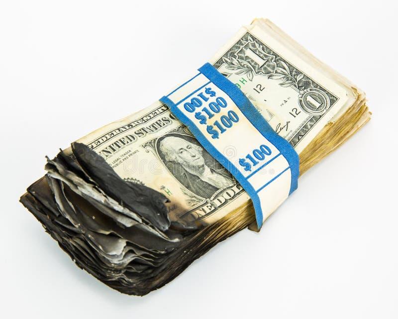 Burnt pieniądze fotografia stock