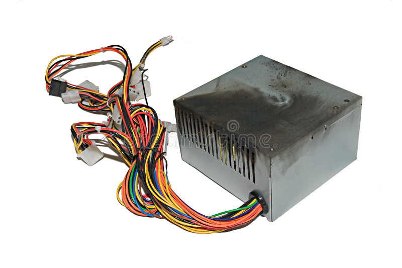 Burnt power supply royalty free stock image