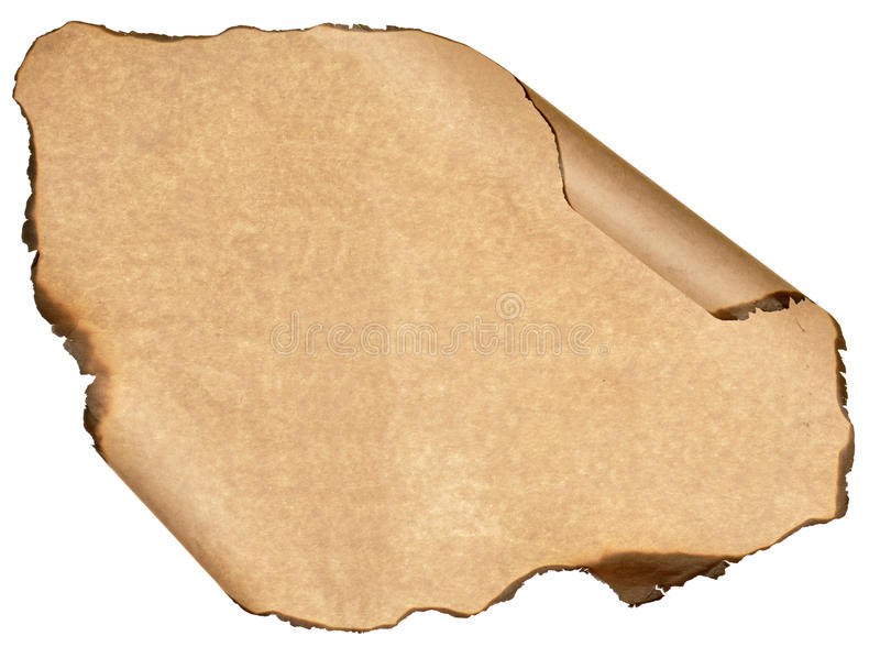 Burnt sheet old paper isolated white background royalty free stock images