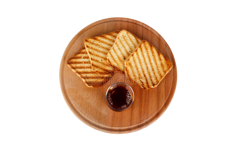 Burnt Toasted Bread and Tea royalty free stock photo