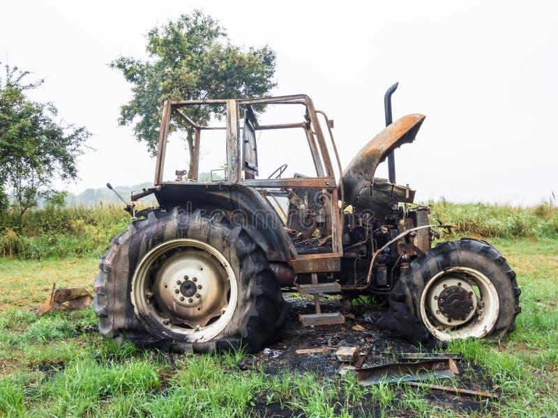 Download Burnt tractor stock photo. Image of fire, wheel, rust - 32868182