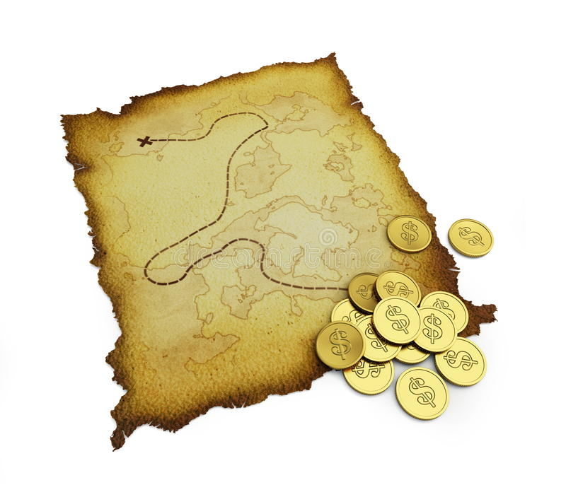 Download Burnt treasure map stock illustration. Illustration of brittle - 14858345