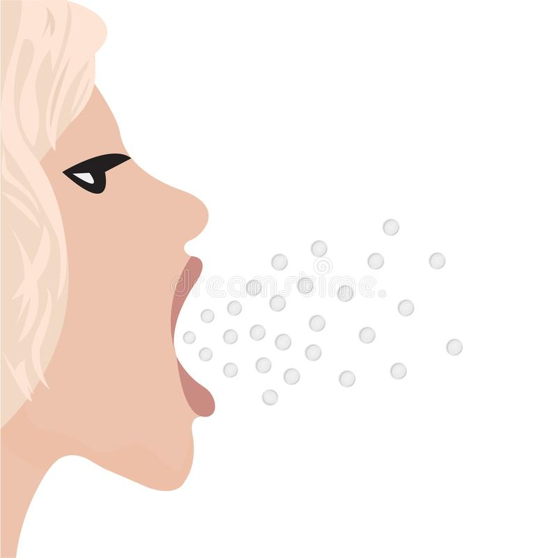 A burp from mouth of a beautiful girl. Vector illustration royalty free illustration