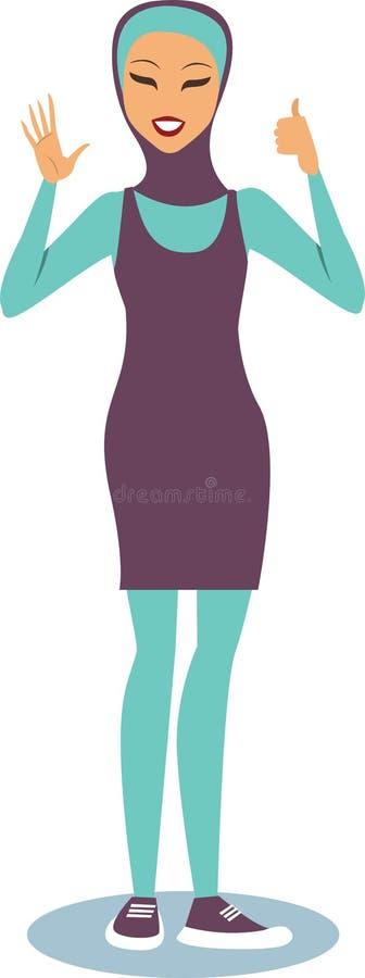 Burqini vestindo da menina ilustração do vetor