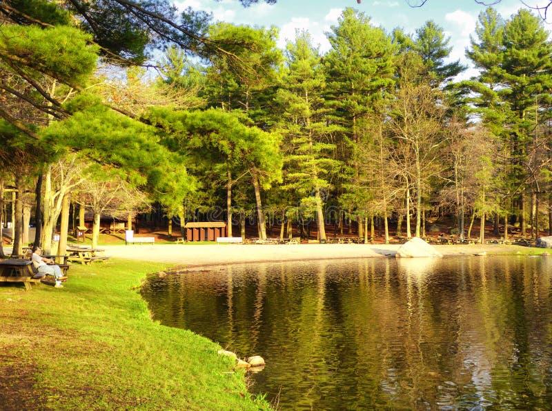 Burr Pond-de mening van de het parklente van de staat stock afbeeldingen