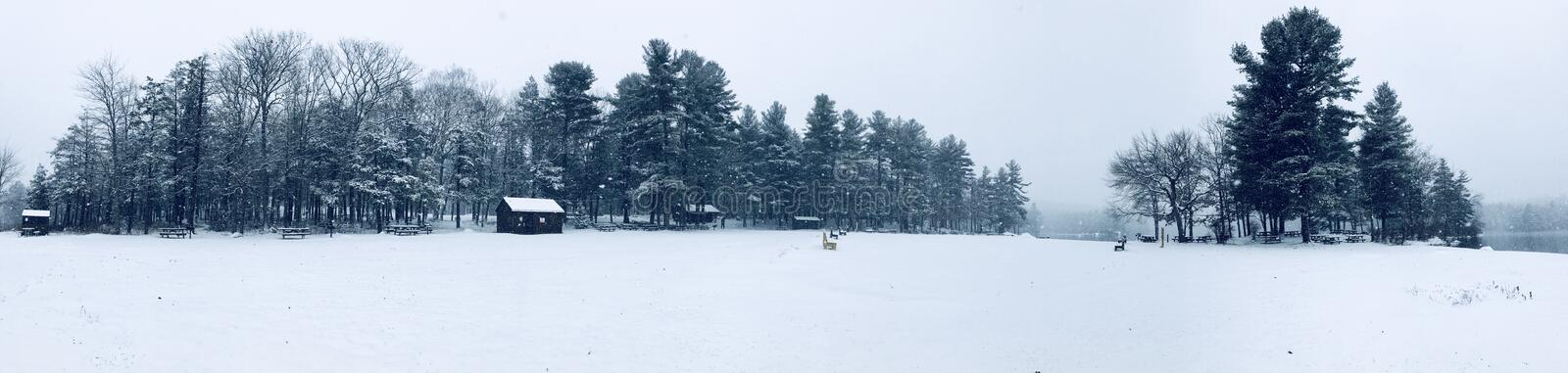 Burr Pond state park panorama winter view stock photography