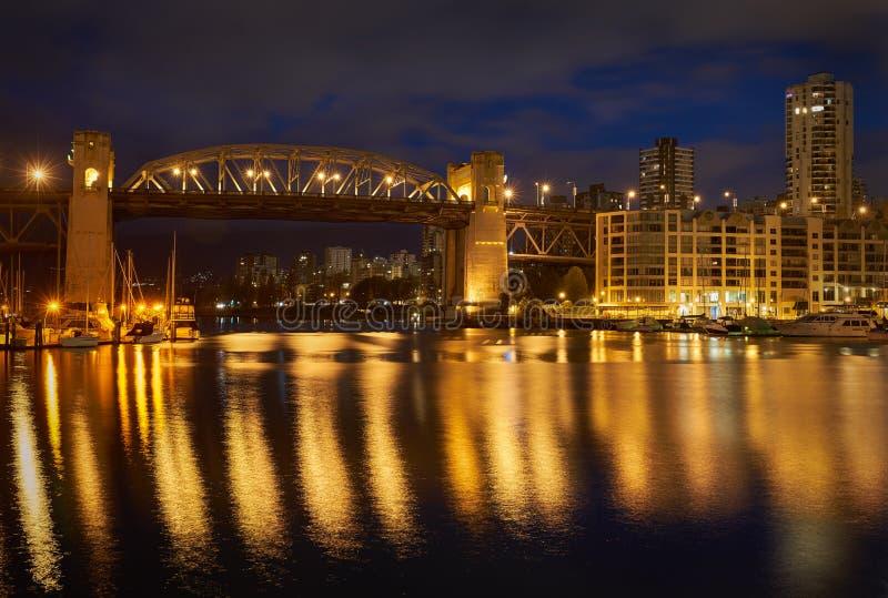 Burrard Bridge Night, Vancouver stock photo