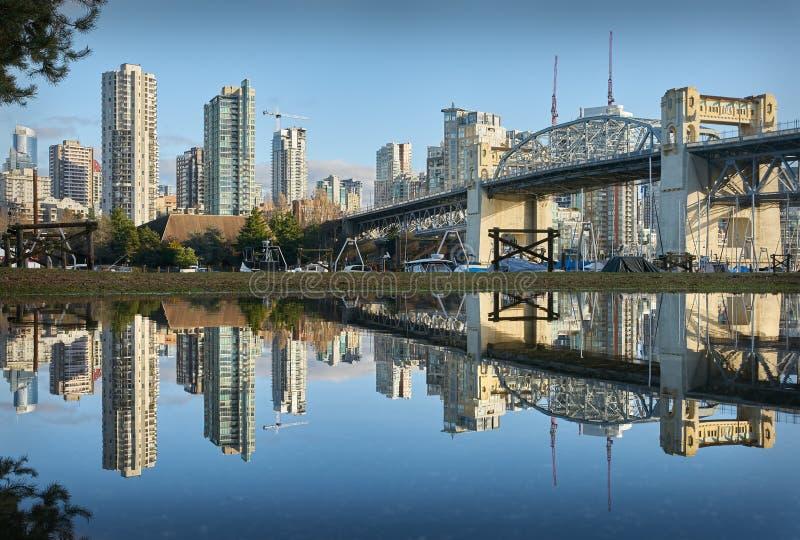 Burrard Bridge Reflection Vancouver stock image