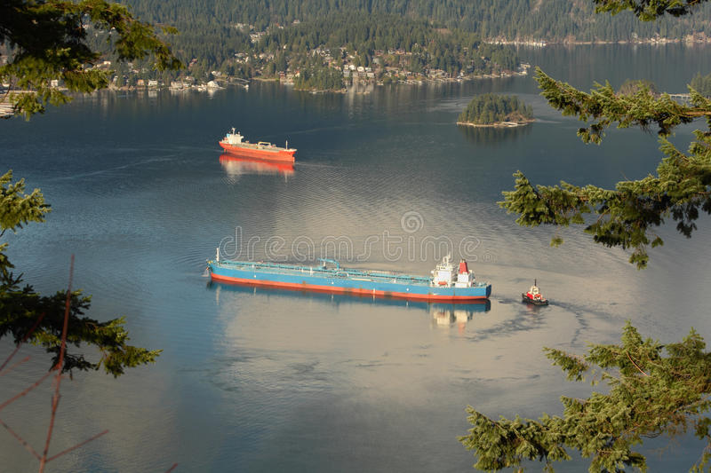 Burrard Inlet Oil Tankers, Vancouver royalty free stock photos
