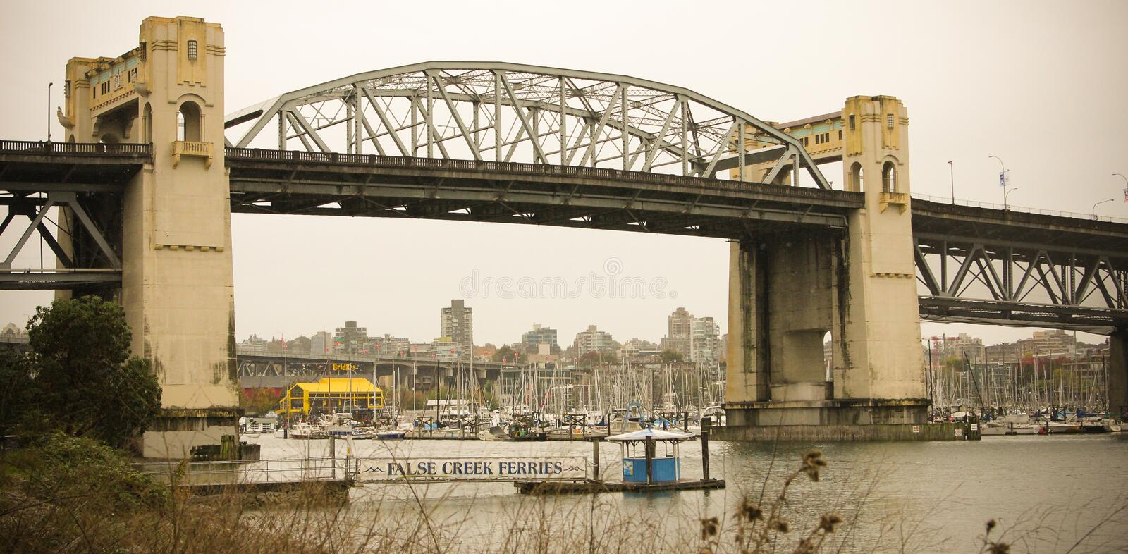 Burrard St. Bridge, Vancouver, B.C. View of the Burrard Street bridge, Vancouver, B.C royalty free stock photo