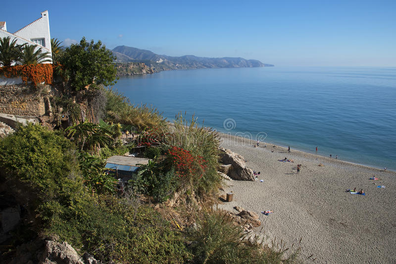 Burriana Beach at the Spanish resort of Nerja on the Costa del Sol. One of the seven beaches in Nerja in Andalucia in Southern Spain royalty free stock photos