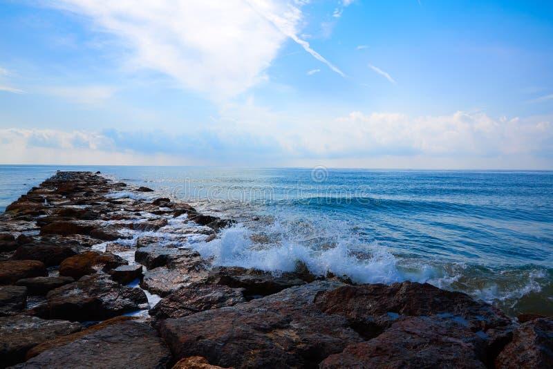 Burriana-Wellenbrecher in Castellon von Spanien stockbilder