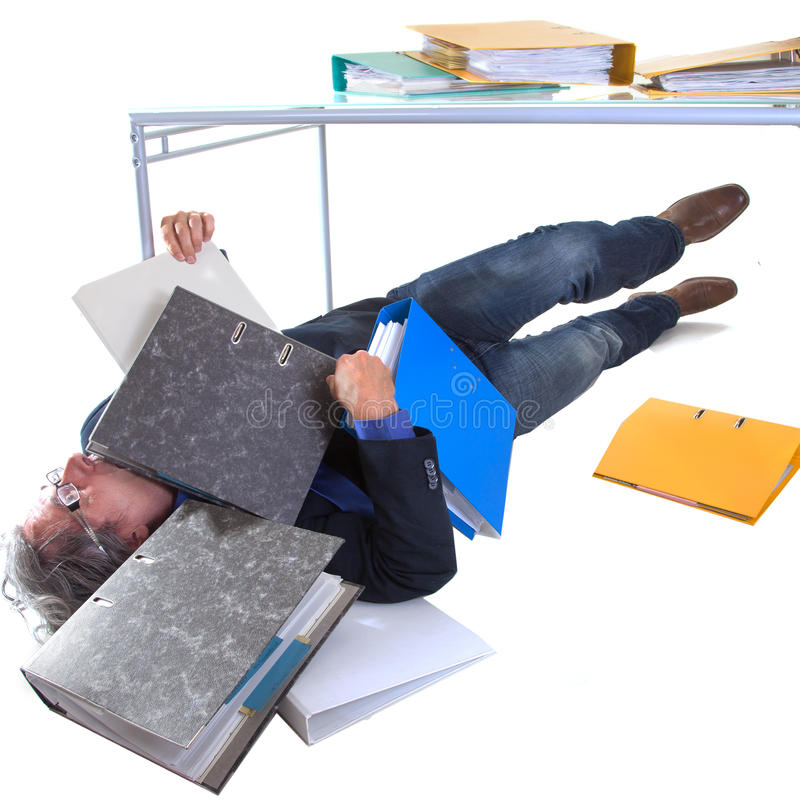 Burried with work royalty free stock photo