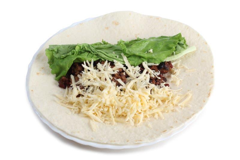 Burrito στο άσπρο πιάτο στοκ εικόνα