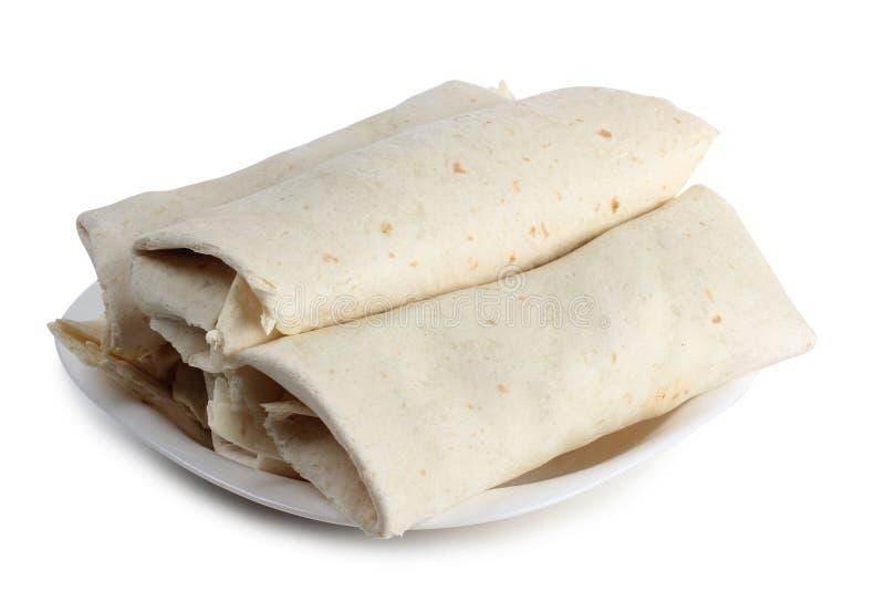 Burrito στο πιάτο στοκ φωτογραφία με δικαίωμα ελεύθερης χρήσης
