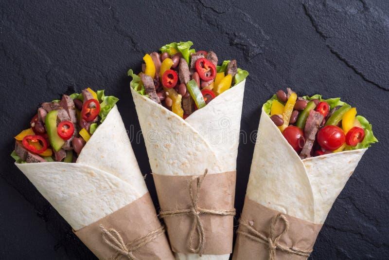 Burrito avec du boeuf photo stock
