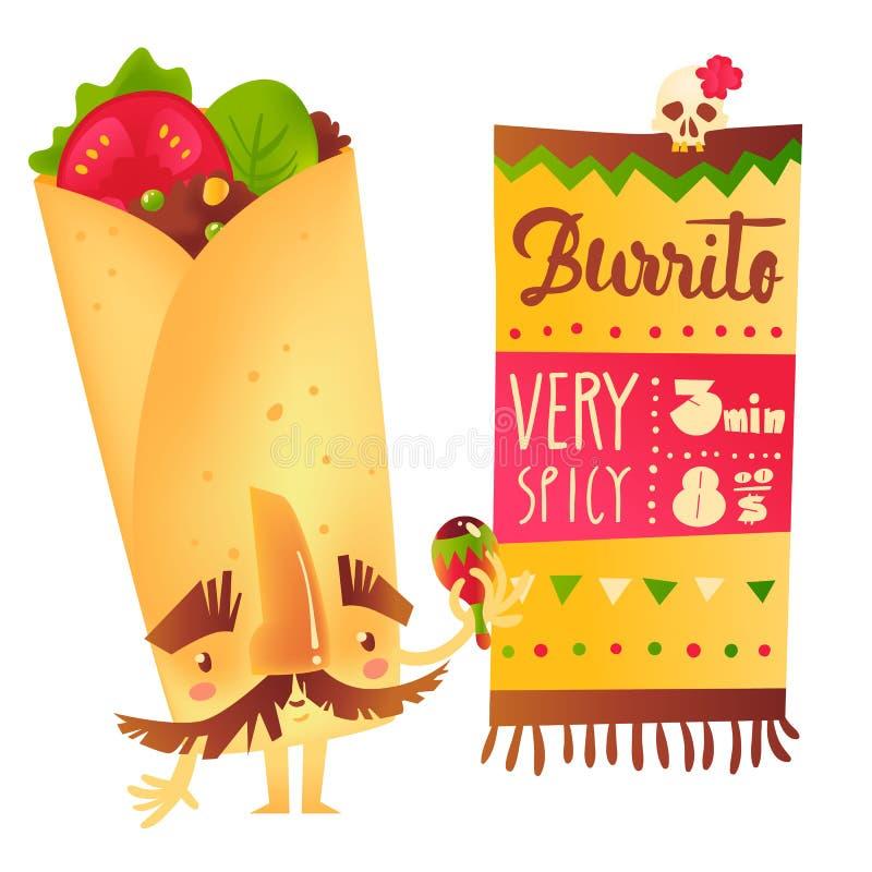 Burrito charakter z gęstymi brwiami i wąs bawić się Meksykańskiego maraca ilustracji