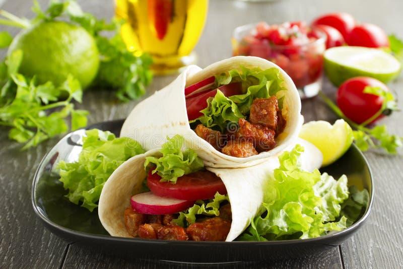 Burrito con carne di maiale immagine stock libera da diritti