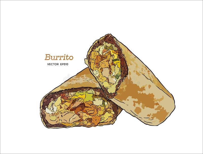 Burrito de Califórnia vetor do esboço da tração da mão Grupo mexicano do alimento ilustração stock