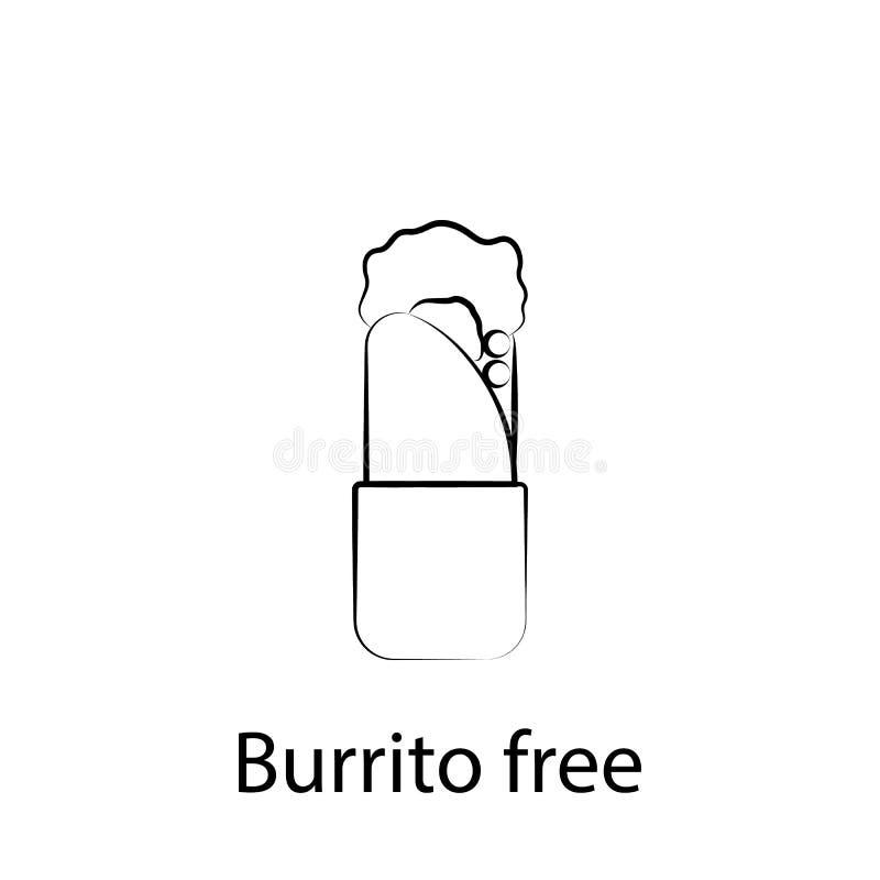 Burrito de los alimentos de preparaci?n r?pida, icono libre del esquema Elemento del icono del ejemplo de la comida Las muestras  stock de ilustración