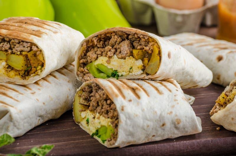 Burrito de petit déjeuner photo stock