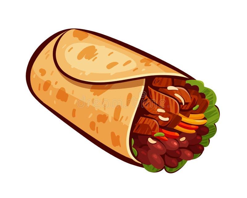 burrito Element restauracyjny menu lub knajpa Meksykański jedzenie, posiłek, je pojęcie obcy kreskówki kota ucieczek ilustraci da ilustracji