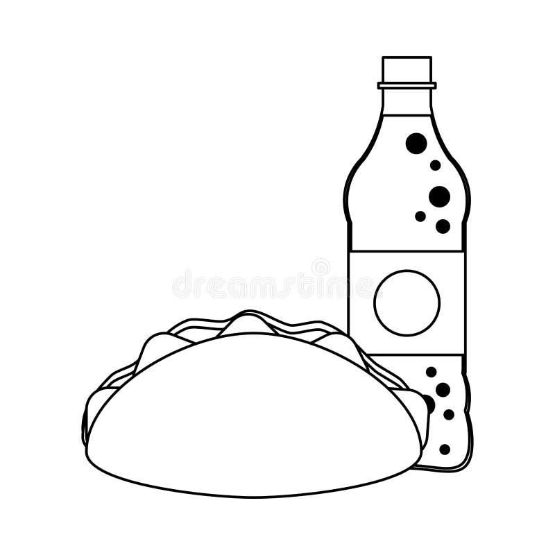 Burrito et bouteille de soude noire et blanche illustration stock