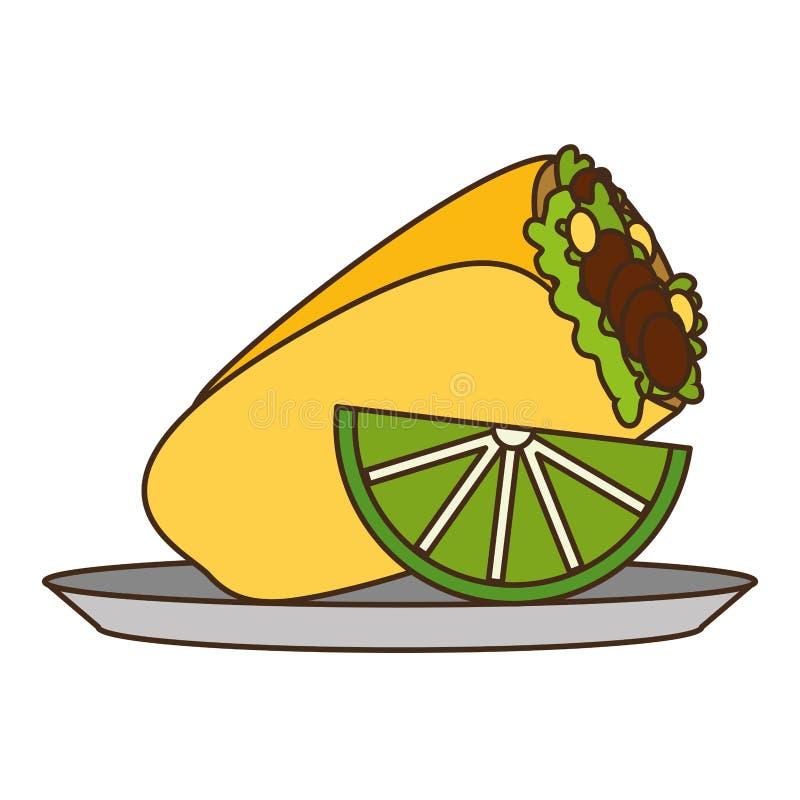 Burrito et citron mexicains illustration stock