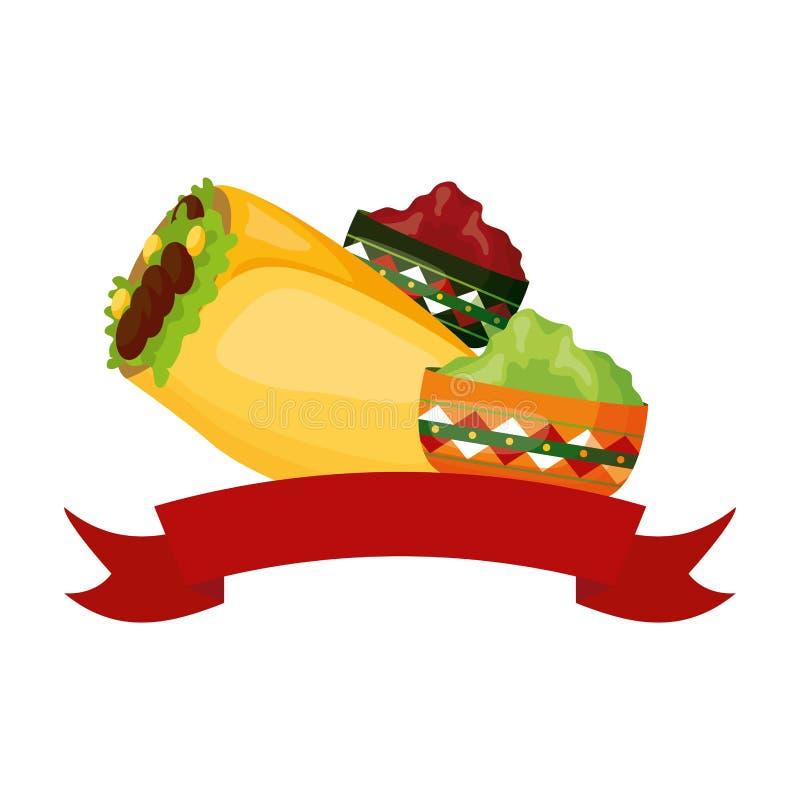 Burrito et sauces illustration de vecteur