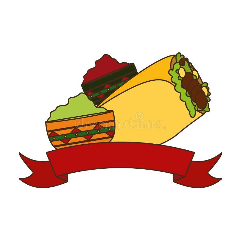 Burrito et sauces illustration libre de droits