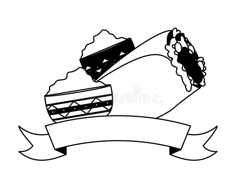 Burrito et sauces illustration stock