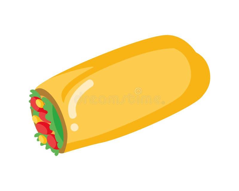 Burrito fast food ilustracja wektor