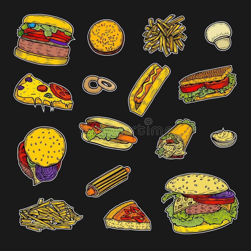 burrito fasta food kebab pasztetowy ustalony taco royalty ilustracja