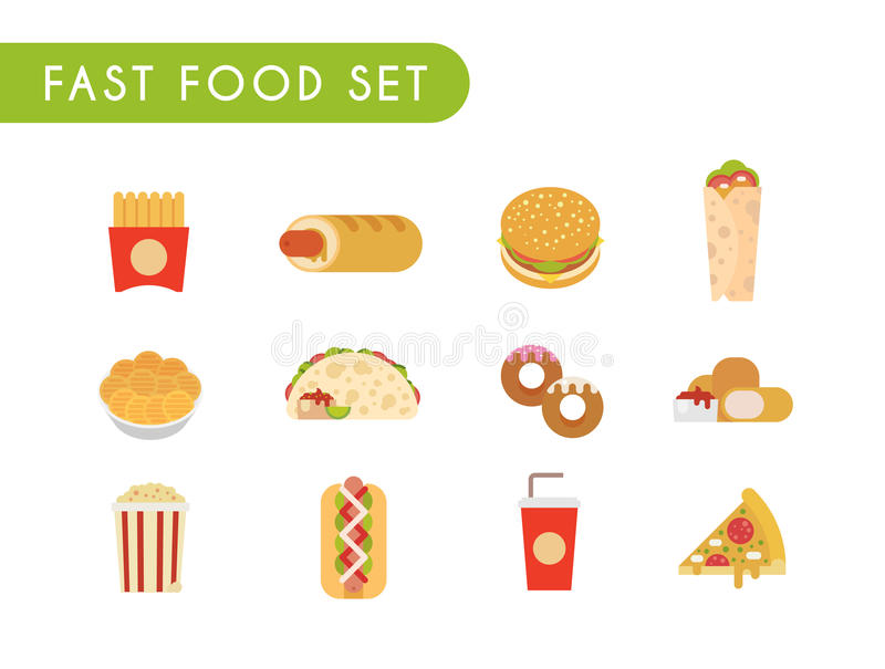 burrito fasta food kebab pasztetowy ustalony taco ilustracja wektor