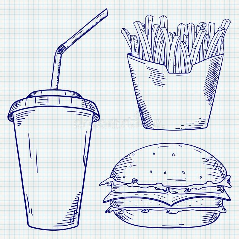 burrito fasta food kebab pasztetowy ustalony taco Francuzów dłoniaki, hamburger i papierowa filiżanka, piją Błękitna ręka rysując ilustracja wektor