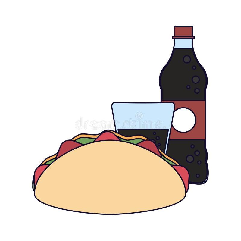Burrito i sodowana butelka ilustracji