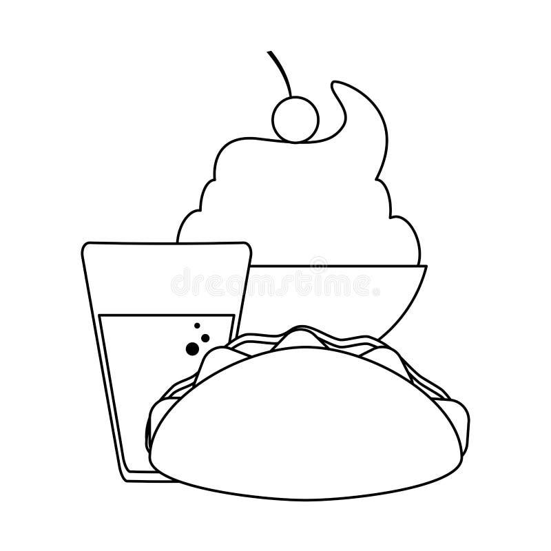 Burrito i sody filiżanka z lody czarny i biały ilustracji