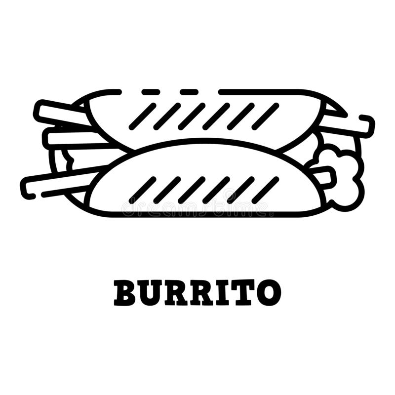 Burrito icon, outline style royalty free illustration
