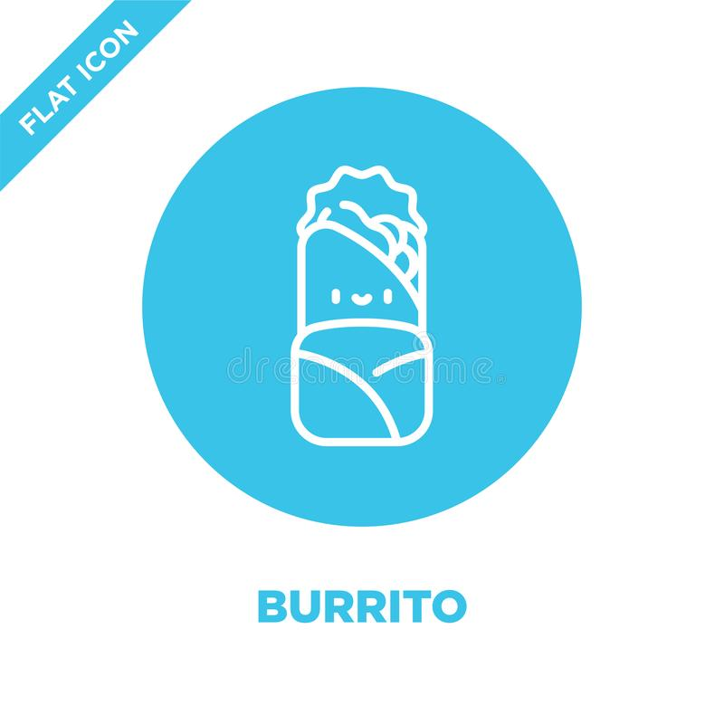 burrito icon vector from take away collection. Thin line burrito outline icon vector  illustration. Linear symbol for use on web royalty free illustration