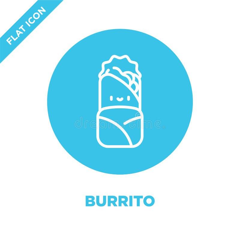 burrito ikony wektor od bierze oddaloną kolekcję Cienka kreskowa burrito konturu ikony wektoru ilustracja Liniowy symbol dla używ royalty ilustracja