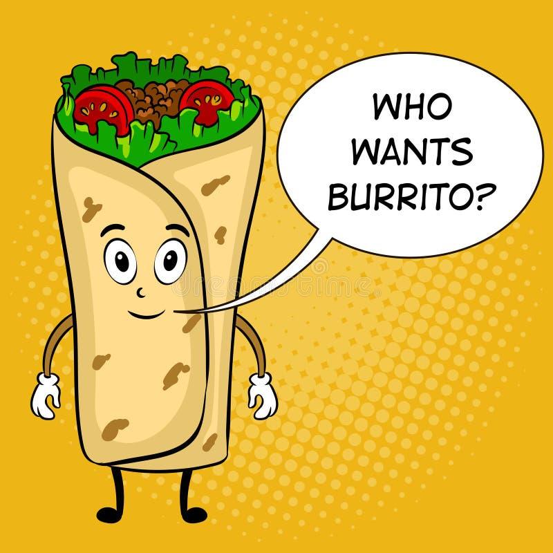 Burrito kreskówki wystrzału sztuki wektoru ilustracja royalty ilustracja