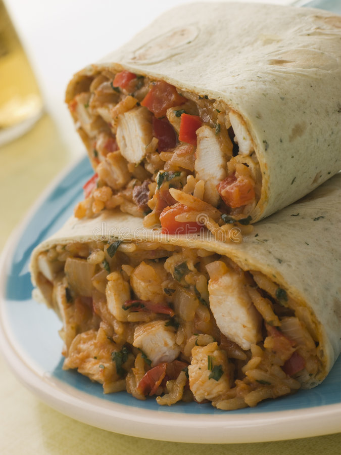 burrito kurczaka ser ryżu obraz royalty free