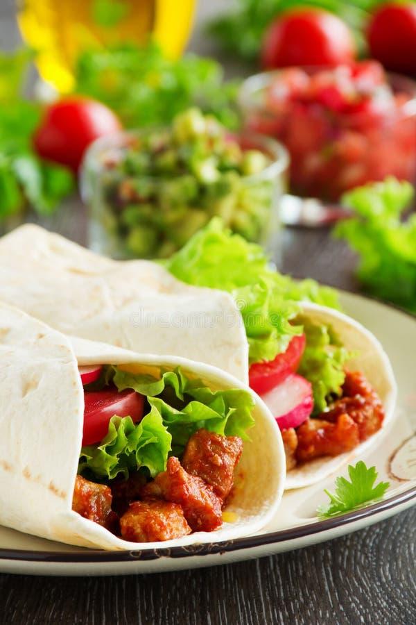 Burrito met varkensvlees royalty-vrije stock afbeelding