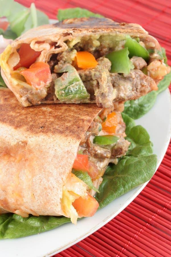 Burrito mexicano del filete fotografía de archivo libre de regalías