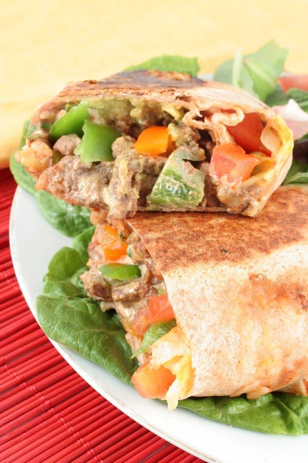Burrito mexicano del filete imagen de archivo