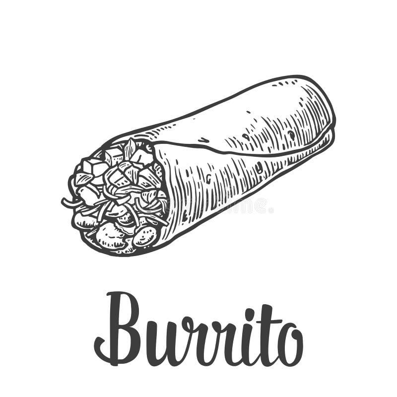 Burrito - nourriture traditionnelle mexicaine Dirigez l'illustration gravée par vintage pour le menu, affiche, Web D'isolement su illustration stock