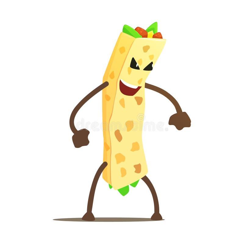 Burrito opakunek Street Fighter, fasta food niedobrego faceta postać z kreskówki Walcząca ilustracja royalty ilustracja