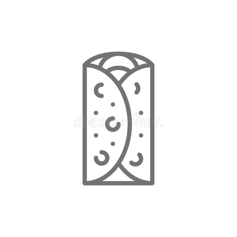 Burrito, plato mexicano, línea icono de los alimentos de preparación rápida libre illustration