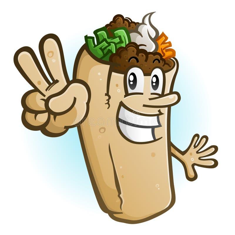 Burrito postać z kreskówki Podtrzymuje pokoju znaka ilustracja wektor