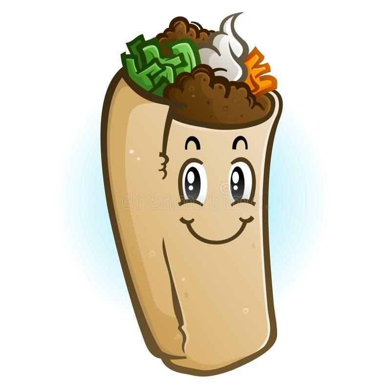 Burrito postaci z kreskówki wektoru ilustracja
